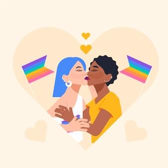 Un couple de lesbiennes s'embrasse dans un style design plat