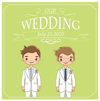 Couple lgbt mignon pour carte d'invitations de mariage