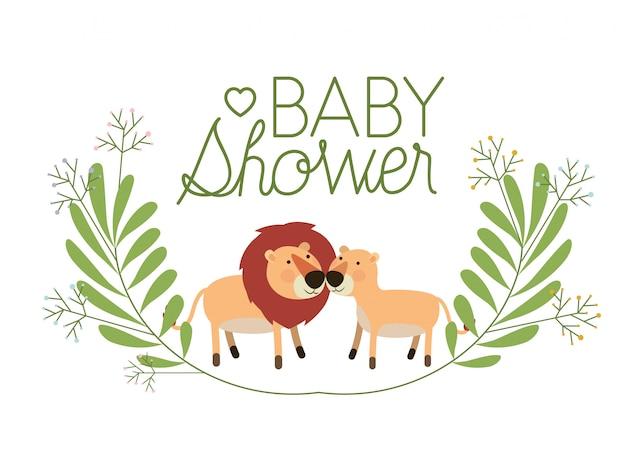 Couple de lions mignon avec carte de douche de bébé guirlande