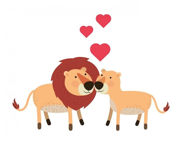 Couple de lions mignon avec des coeurs