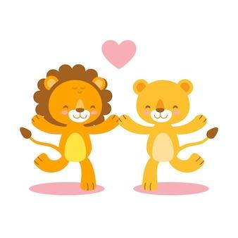 Couple de lions mignon saint valentin