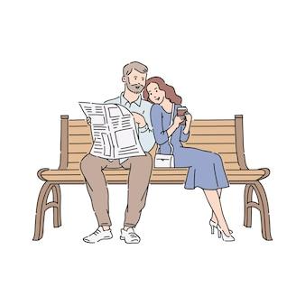 Couple lisant le journal en plein air illustration isolé sur fond blanc