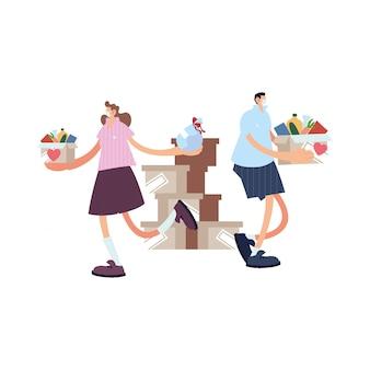 Couple de livraison sur le chemin du client avec masque facial