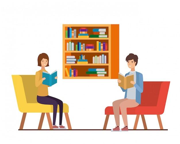 Couple, livre, mains, salon