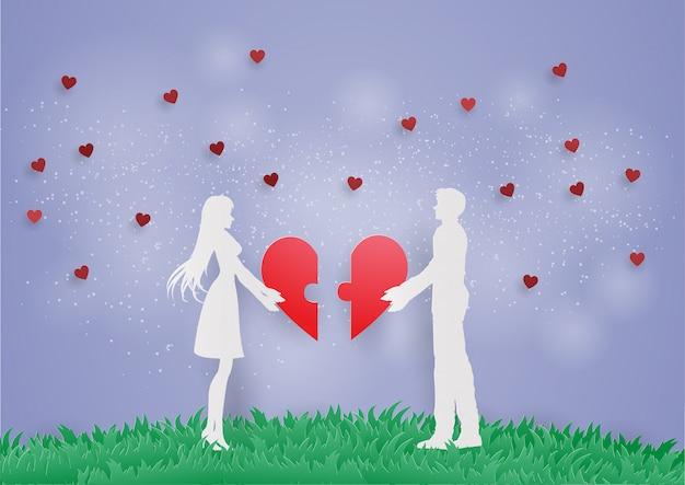 Couple love hold puzzle coeur se connecter pour l'amour