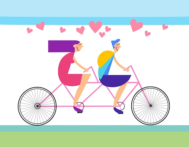 Couple love ride tandem vélo forme de coeur