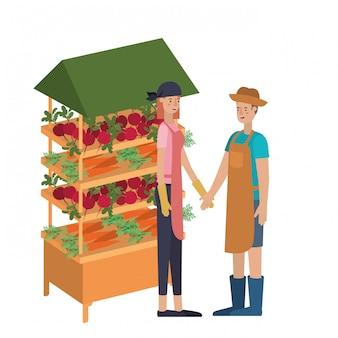 Couple en magasin kiosque avec personnage avatar de légumes