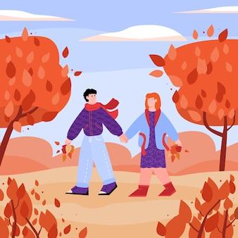 Couple main dans la main marchant dans le parc automne, illustration vectorielle de dessin animé plat
