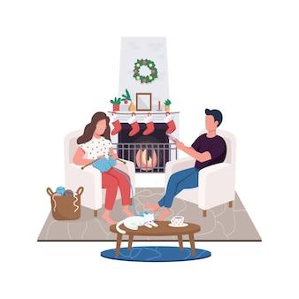 Couple à la maison cheminée personnages sans visage couleur plat