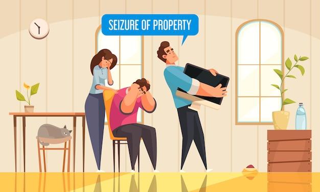 Couple malheureux avec un agent saisissant une illustration de propriété