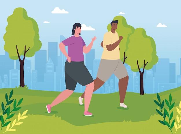 Couple de marathoniens en cours d'exécution dans le parc, femme et homme courent compétition ou affiche de course de marathon, mode de vie sain et sport