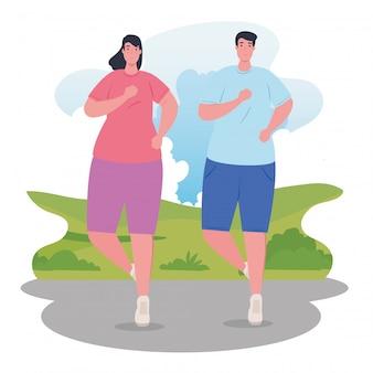 Couple de marathoniens exécutant des affiches de compétition sportive ou femme et homme ou course de marathon, mode de vie sain et sport