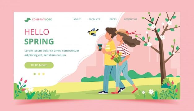 Couple marchant au printemps tenant des fleurs et une tasse de café.