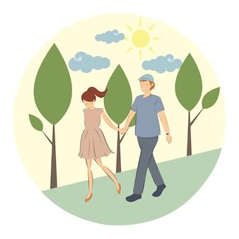 Couple marchant dans le parc forestier