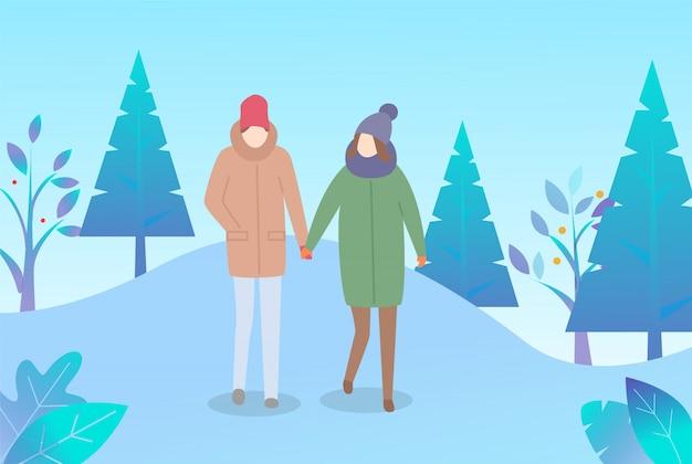 Couple, marche, hiver, parc, temps froid