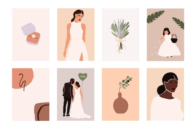 Couple de mariage abstrait avec des éléments de mariage