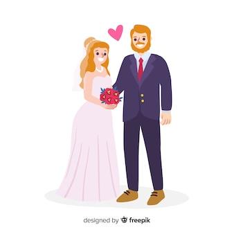 Couple de mariage amoureux dessinés à la main