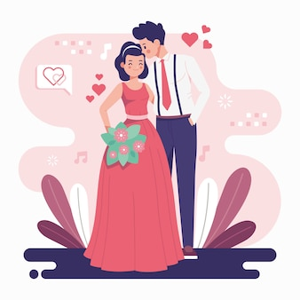 Couple de mariage au design plat