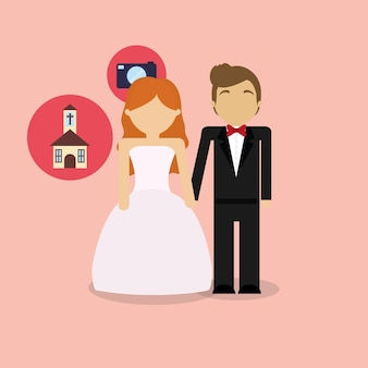 Couple de mariage avatar avec des icônes connexes autour