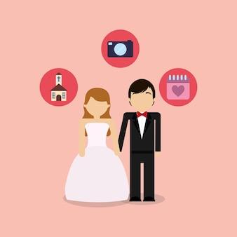 Couple de mariage avatar avec des icônes connexes