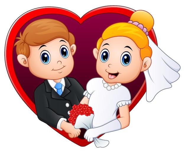 Couple de mariage avec un cadre rouge en forme de coeur