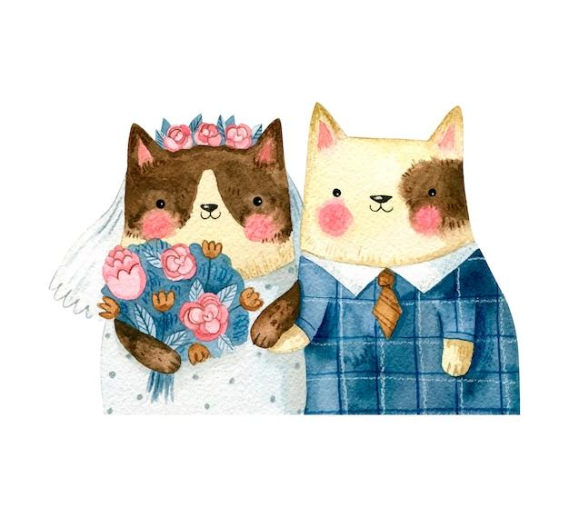Couple de mariage avec des chats de dessin animé mignon dans des vêtements