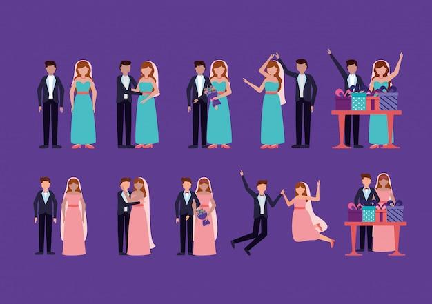 Couple de mariage dans un style plat