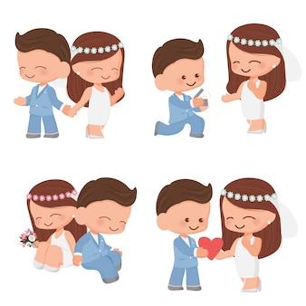 Couple de mariage dessin animé mignon en costume bleu et collection de robes sur fond blanc isolé