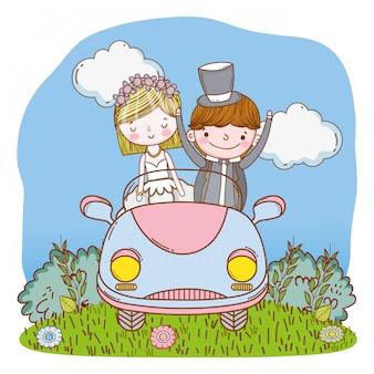 Couple de mariage sur dessin animé mignon de voiture