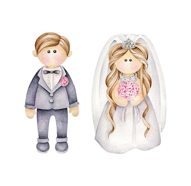Couple de mariage de dessin animé