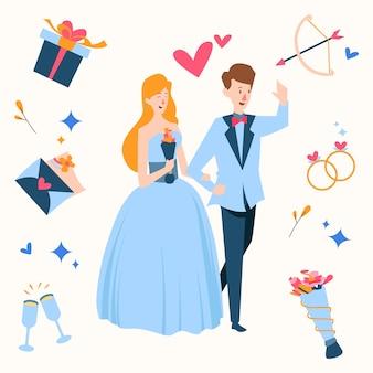Couple de mariage dessiné à la main entouré de cadeaux