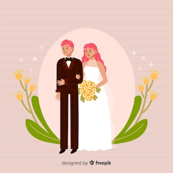 Couple de mariage dessiné main mignon