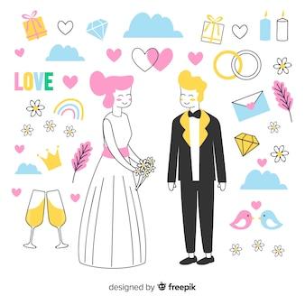 Couple de mariage dessiné à la main avec des ornements