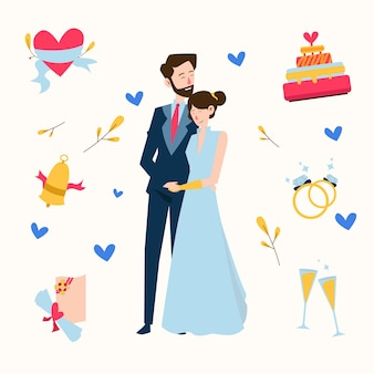 Couple de mariage dessiné main tenant par la main