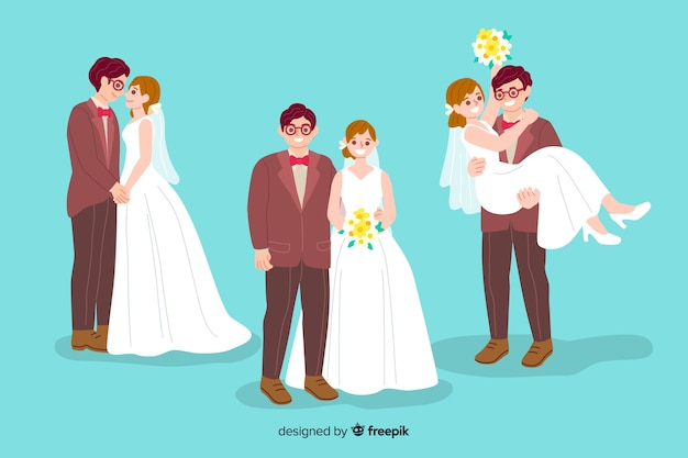 Couple de mariage dessiné à la main