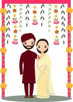 Couple de mariage indien mignon pour carte d'invitations