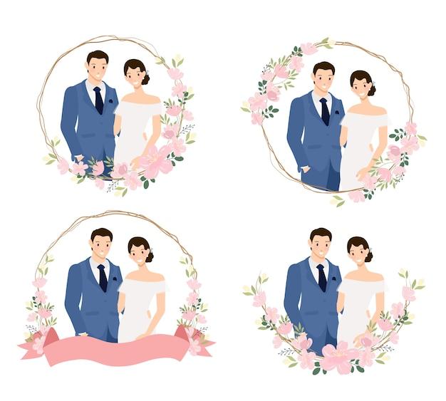 Couple de mariage jeune mignon en costume bleu en couronne de fleurs de cerisier collection de style plat illustration de vectos