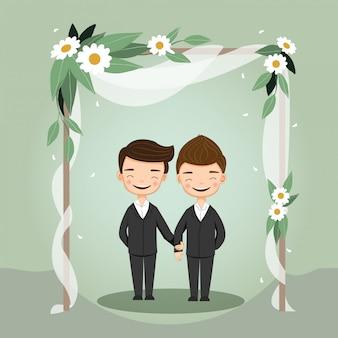 Couple de mariage lgbt mignon pour carte d'invitations