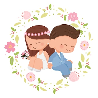 Couple de mariage mignon dans un style plat de couronne de fleurs pour la saint-valentin ou la carte de mariage