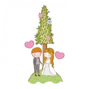 Couple mariage mignon dessin animé