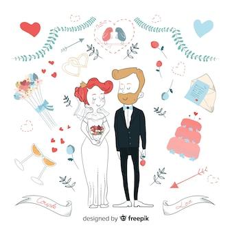 Couple de mariage mignon dessiné à la main