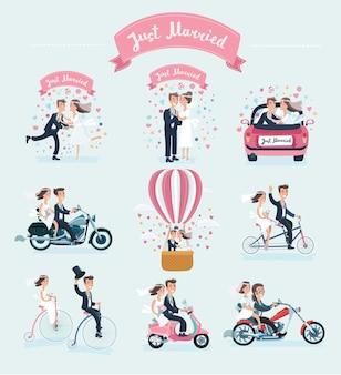 Couple de mariage mignon mariée et le marié isolé sur fond blanc