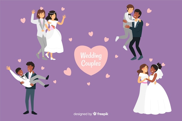 Couple de mariage plat