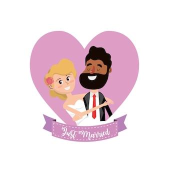 Couple marié à l'intérieur du cœur et conception de ruban