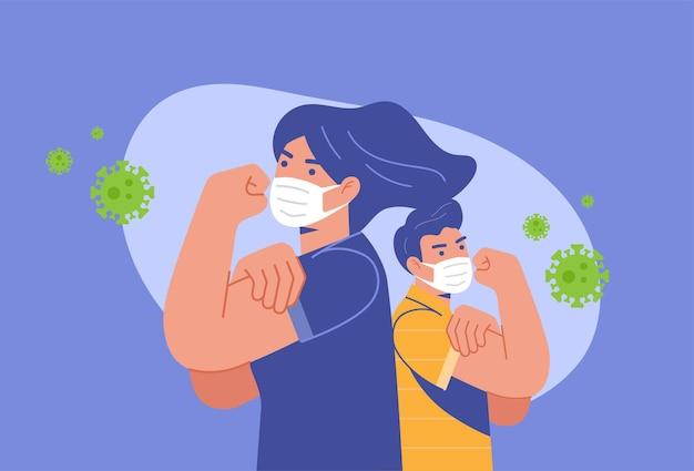 Un couple avec un masque pose, nous pouvons le faire pour lutter contre le virus corona covid-19