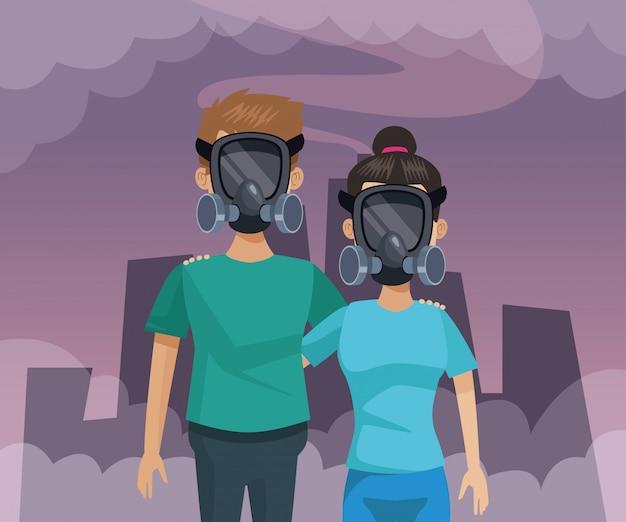 Couple avec masque protection pollution