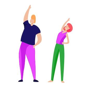 Couple, matin, exercice
