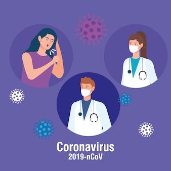 Couple, médecins, femme, malade, coronavirus