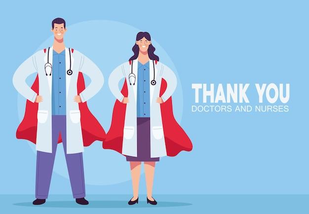 Couple de médecins avec illustration de capes stéthoscopes et héros