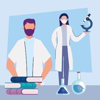 Couple de médecins portant des masques médicaux avec des livres et des icônes de laboratoire illustration